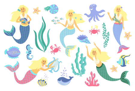 Underwater life collection. Mermaid, sea animals and seaweed on a white background