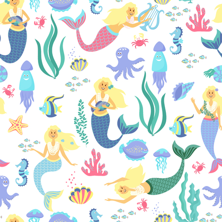 Cartoon mermaid seamless pattern on transparent background. Vector illustration Vectores