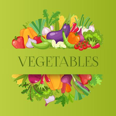 Vegetables top view frame. Farmers market menu design. Organic food poster. Vintage hand drawn sketch vector illustration.