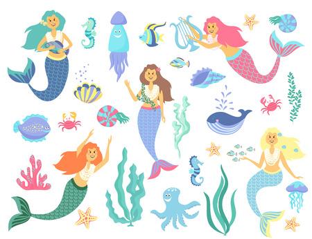 Unterwasser-Lebenskollektion Meerjungfrau, Meer Tiere und Algen auf einem weißen Hintergrund Vektorgrafik