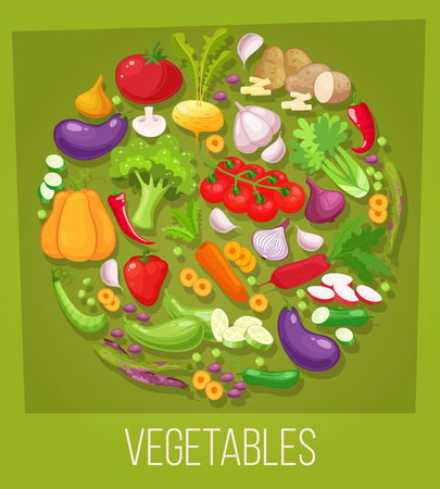 Vegetables top view frame. Farmers market menu design. Organic food poster. Vintage hand drawn sketch vector illustration.