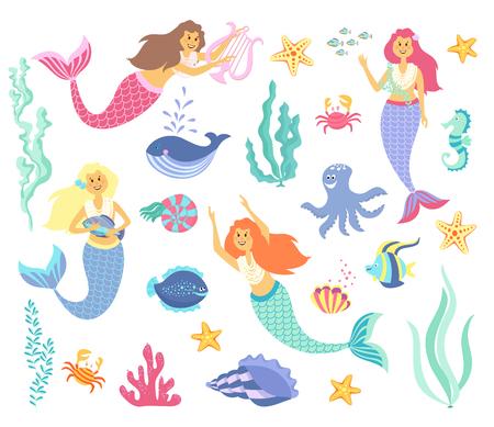 Onderwaterlevensverzameling. Zeemeermin, zeedieren en zeewier op een witte achtergrond