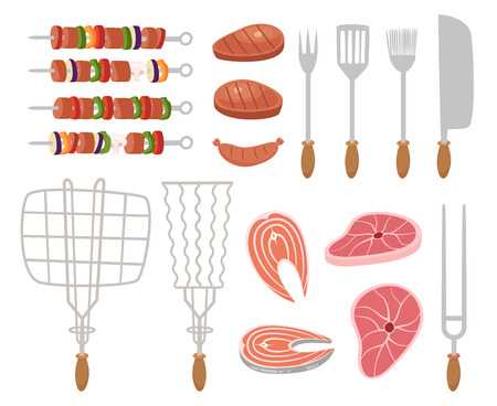 Grill, barbecue icons. set of elements - chef, kitchen tools, suitcase, ketchup, charcoal, bottle of wine, apron, sausage, BBQ, skewer, skewers, knife, meat, sauce, picnic basket, bread Illustration