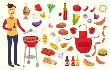 Young man and BBQ party elements isolated on white background.Products BBQ,steak, fish meat, beef, vegetables, herbs, fast food , wine and beer. The elements of the meal in a frame of sausages Illustration