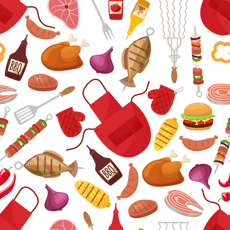 Barbecue and grill for home party or restaurant background pattern. Products and kitchen tools cartoon flat design style vector illustration