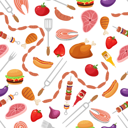 Bbq seamless pattern with grill objects and icons.Cartoon style vector illustration