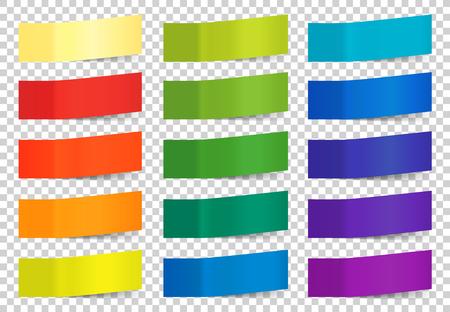 透明な背景にカラフルなベクトル付箋のセット