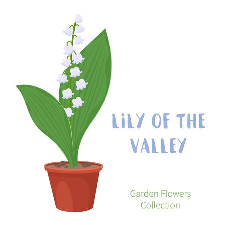 꽃 냄비에 봄 꽃입니다. 릴리 밸리 primroses입니다. 흰색 배경에 고립 된 정원 디자인 아이콘입니다. 만화 스타일 벡터 일러스트 레이션 일러스트
