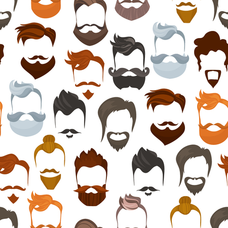 hairdresser: Seamless pattern of men cartoon hairstyles with beards and mustache.Fashionable stylish types lumbersexual or hipsters silhouette seamless background. Cartoon style vector illustration