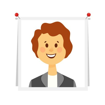 Young woman with brown hair in business suit at pictures pinned to white Board. Photo for memory, reminder of emotions on white background. Cartoon flat vector illustration