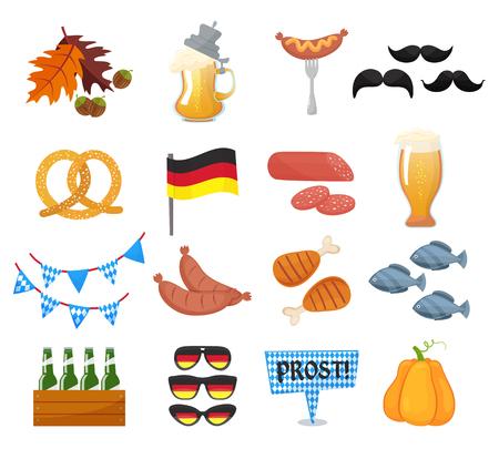 オクトーバーフェスト アイコンの伝統的なシンボルを設定します。ドイツ国立オクトーバーフェスト オブジェクトを白い背景に分離します。  イラスト・ベクター素材