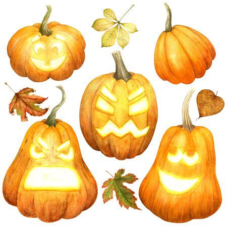 Scary Halloween pumpkins and autumn leaves isolated on white background. Scary glowing faces trick or treat. Watercolor illustration