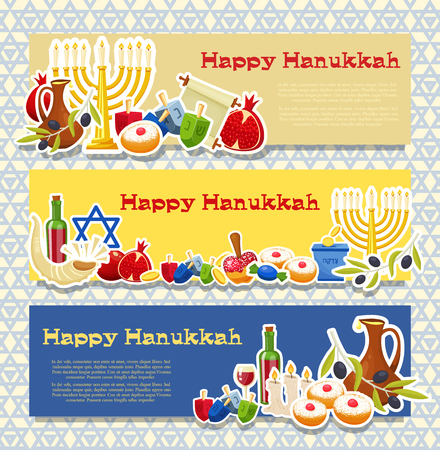 Jewish Holiday Hanukkah banners set. Vector illustration.
