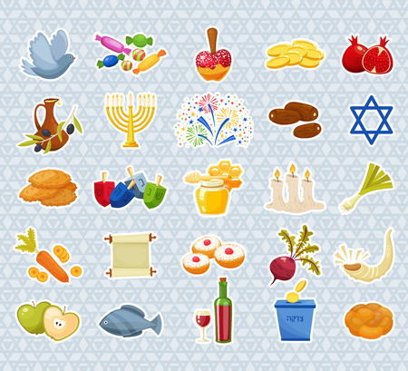 Jewish Holiday Hanukkah icons set. Traditional symbols of holiday light and candles isolated on white background. Cartoon style vector illustration