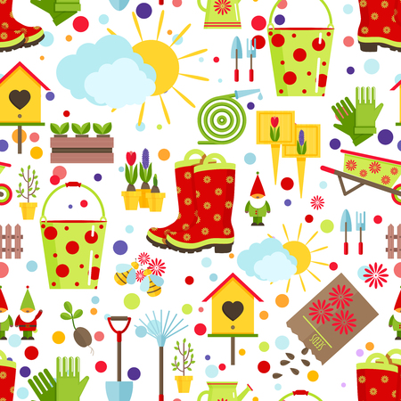 Spring and gardening seamless pattern. Tools, decorations and seasonal symbols of spring on a white background. Cartoon flat style vector illustration.
