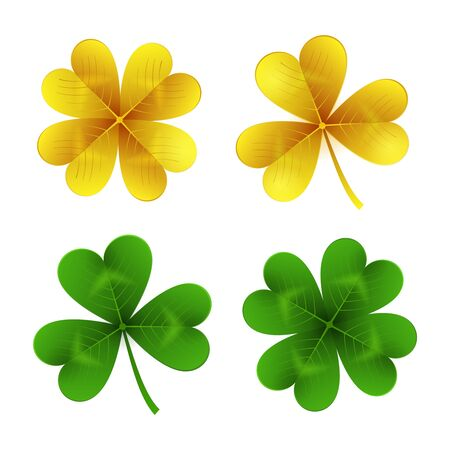 Gold and green clover leaves isolated on white background.St. Patrick Day shamrock and four-leafed traditional Irish symbols of luck, wealth and celebration. Vector illustration