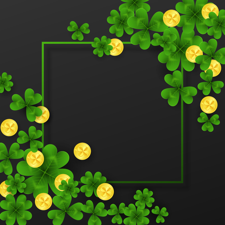 Saint Patrick Day frame with corner decoration green , gold four and tree Leaf clovers,golden coins on white background. Party invitation template.Lucky,success and money symbols vector illustration.