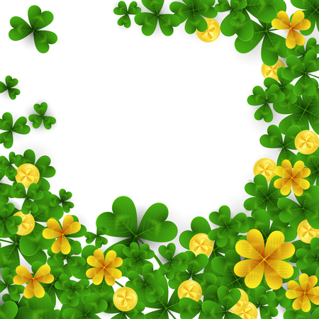 Saint Patrick s Day frame with green and gold four and three Leaf clovers,golden coins on white background. Party invitation template. Lucky,success and money symbols vector illustration.