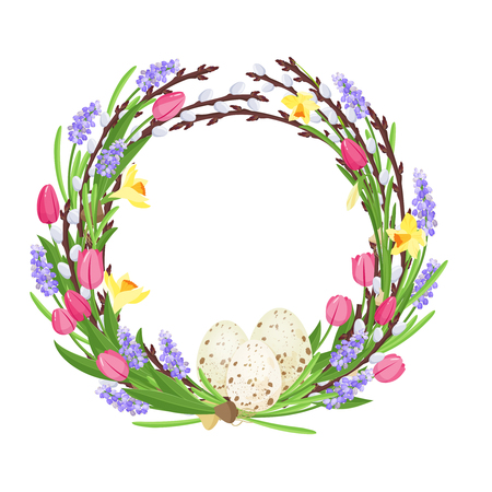 Spring wreath from branches of willow and flowers decorated with quail eggs and narcissuses and mouse hyacinths.
