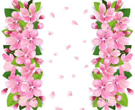 Pink flowers border frame on white background with pink petals pink flowers border frame on white background with pink petals vector illustration stock vector mightylinksfo