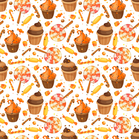 Happy Halloween sweet seamless pattern. Trick or treat. Cartoon vector illustration candy,cupcake and lollipop.