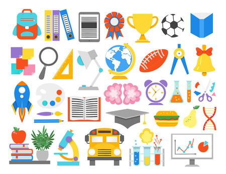 School icons.Paper cut cartoon education supplies set in trendy craft style. Modern origami teaching and learning symbol design. Vector illustration