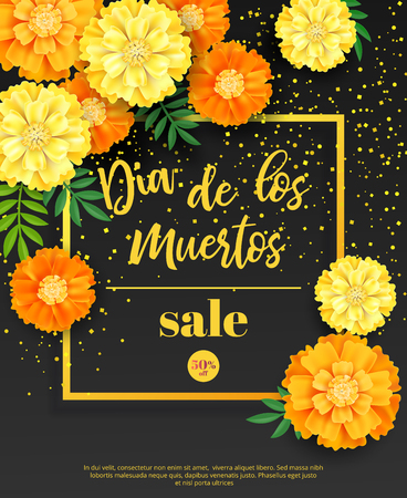 Festive flyer of Day of the Dead sale. Dark background with yellow marigold and golden confetti. Vector illustration for seasonal discount offer