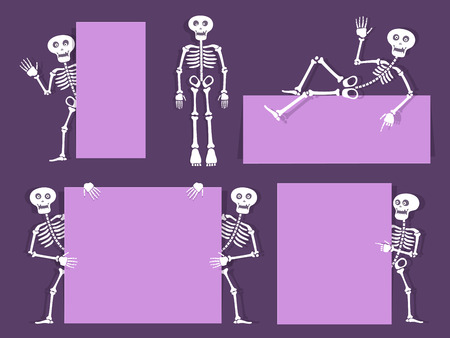 Cartoon skeleton vector bony character with banners and flyers. Paper cut out style design. Day of the dead party invitation background. Vector illustration Illustration