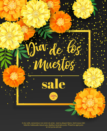 Festive flyer of Day of the Dead sale. Dark background with yellow marigold and golden confetti. Vector illustration for seasonal discount offer Иллюстрация