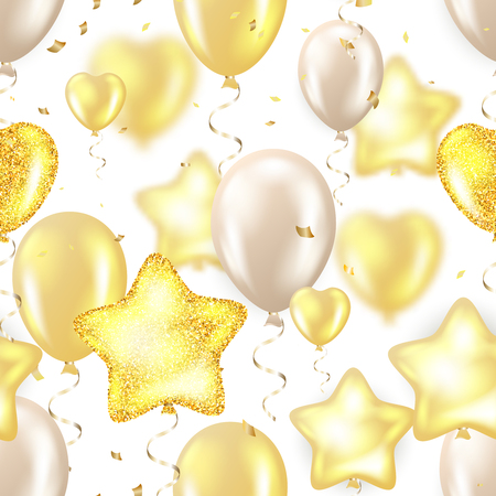 Golden foil confetti and golden , white and glitter balloons.Stars bubbles and hearts seamless pattern.Happy birthday vector illustration