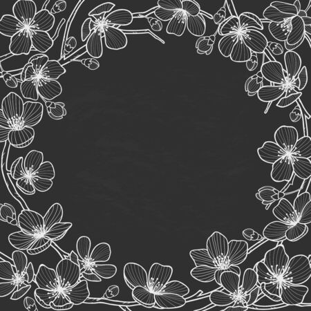 Hand drawn spring flowers frame for text on chalkboard.Sakura,almond,cherry blossoms wreath engraved style.Wedding ,engagement,event invitation vintage backdrop.Black and white vector illustration. Ilustração