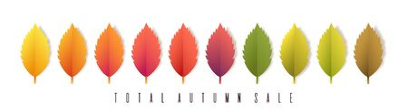 Total autumn sale banner. Colorful leaves on white background .Trendy origami paper cut style vector illustration.