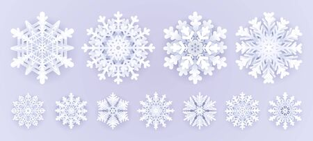White paper snowflakes isolated on grey background.Merry Christmas Greetings card decoration .Origami Snowfall. 3D paper cut aut style vector illustration.