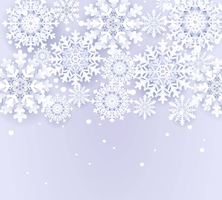 Christmas snowy background with snowflakes. Winter weather banner template .Paper cut snowfall. Merry Christmas and Happy New Year greetings card. Origami style banner.