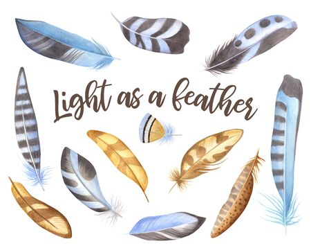 Feather.Multicolored feathers set isolated on white background.Bird watching is a decorative element.Boho style vintage decoration for diary and planner.Watercolor illustration. Imagens - 132124820