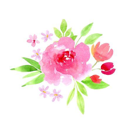 Frühlingsblumendekoration.Rosa Rose, Kirsche, rote Tulpe und Grasstrauß.Muttertag,Ostergeschenk digitale ClipArt.Hochzeit,Verlobungsaquarellillustration Standard-Bild