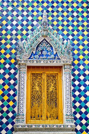 Old temple window, thai art  photo