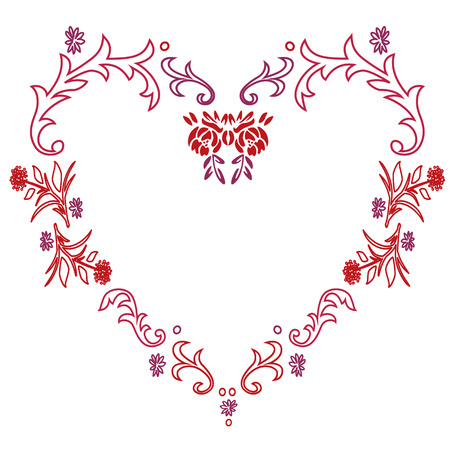 Floral Heart Frame Vector illustration.
