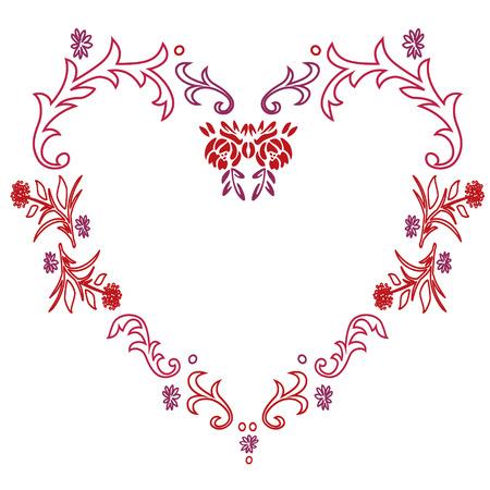 Floral Heart Frame Vector illustration.