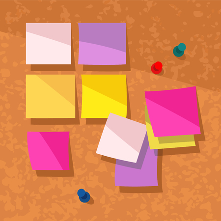 Colorful vector illustration of blank sticky notes on a cork background.