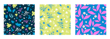 Three funky fresh colourful vector seamless florals