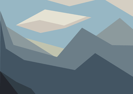 Blue Geometric Mountain Landscape 矢量图像