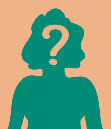 Head shot silhouette with question mark illustration 矢量图像