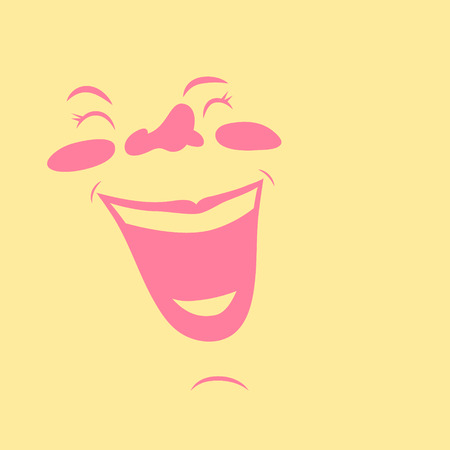 Happy cartoon girl's face, laughing very joyfully. Çizim