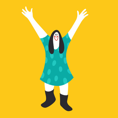 Happy Mentally Disabled Woman Colorful Vector Illustration Stock Illustratie