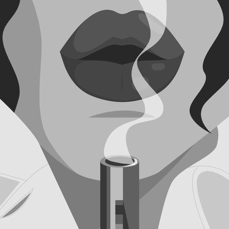 Detective lips closeup, raincoat and smoking gun.