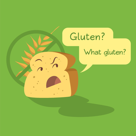 Gluten Free Loaf of Bread Character Vector