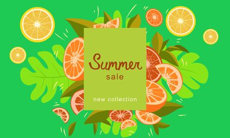 Fresh Citrus Fruits Explosion Summer Poster Composition