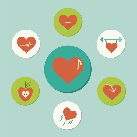 Heart icons in circular composition, each illustrating a healthy habit.