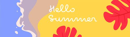 Colorful summer vector banner of a beach with tropical leaves.
